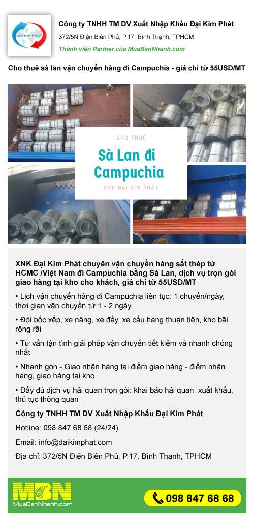 Cho thuê sà lan vận chuyển hàng đi Campuchia - giá chỉ từ 55 USD/MT